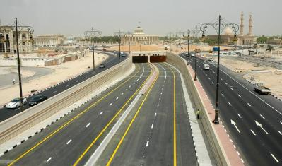 Massive underpass and roundabout at cultural square.